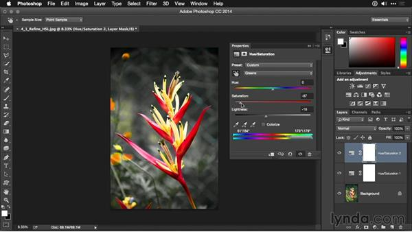 Refining a HueSaturation adjustment layer with the On Image tool
