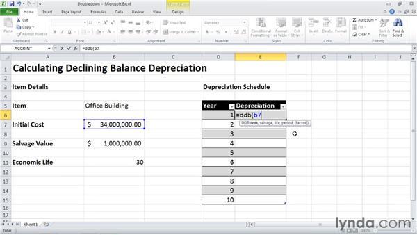 DDB: Calculating depreciation using the double-declining balance method