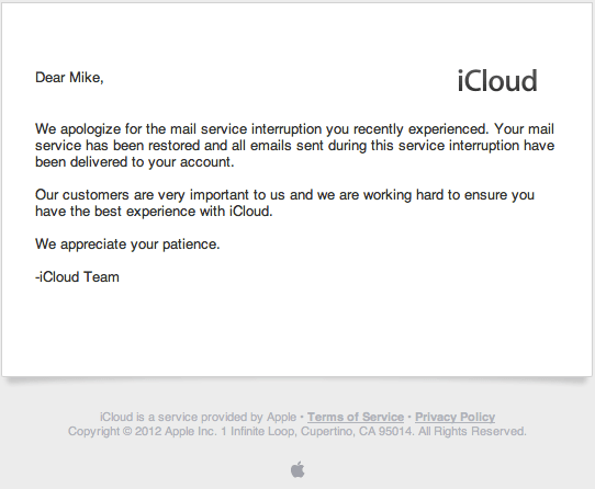 Apple Sends Emailed Apologies For ICloud Outage MacRumors