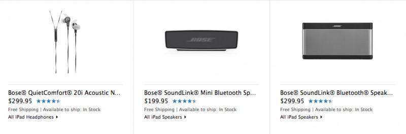 Alcuni prodotti di Bose ritornano ad Apple online immagazzinano dopo assenza di due mesi