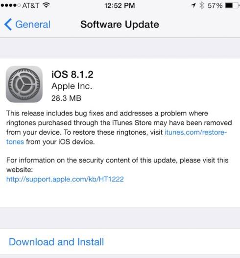 Apple libera lIOS 8.1.2 con la correzione per ledizione di scomparsa di suoneria