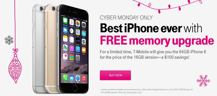 T Mobile che sconta i modelli scelti di iPhone, compreso 64GB il iPhone 6, da $100 per lunedì cyber