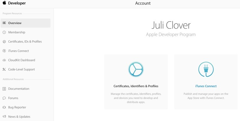 Apple's Developer Center Gets New Account Page With