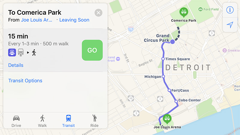 Apple Maps Now Provides Transit Directions In Detroit And