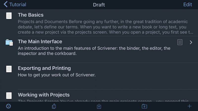 Scrivener for iOS Dark Mode