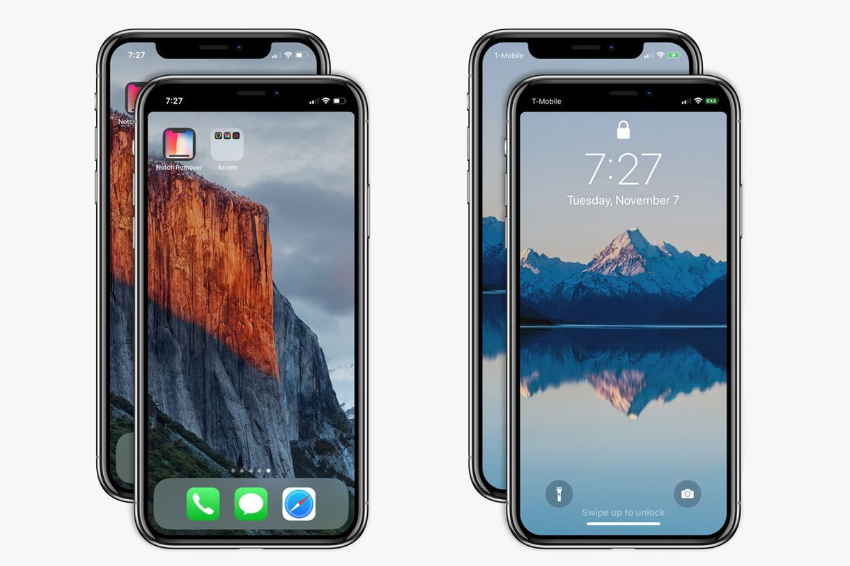Black Notch Iphone X Wallpaper Notch Remover Allow You To Hide Iphone X S Notch On The