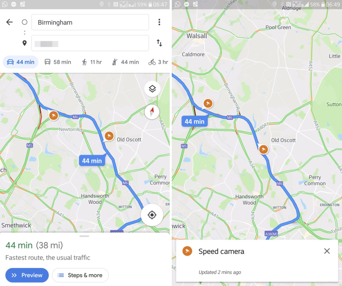 Google Maps is getting Support for Speed Traps