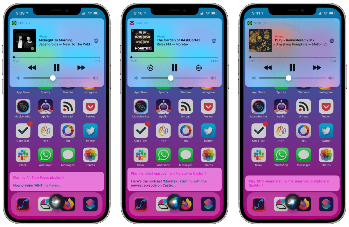 """Some examples of requests to play music and podcasts with Siri and third-party apps in iOS 14.5. If Siri forgets the """"default"""" association with Spotify, just start appending """"in Spotify"""" at the end of your requests for a while."""