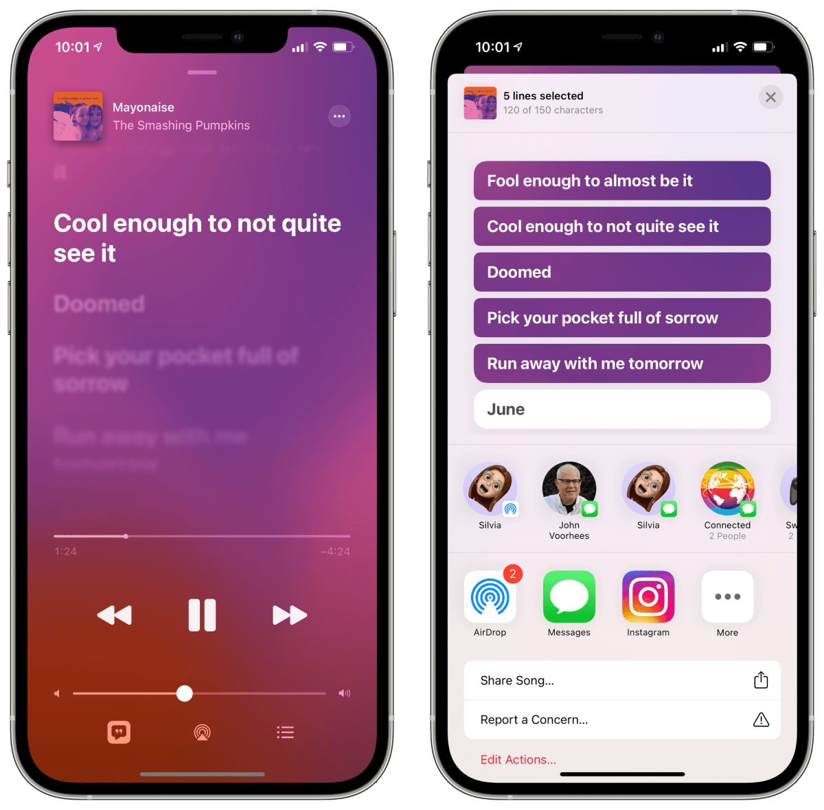 Tap and hold real-time lyrics in iOS 14.5 to share them.