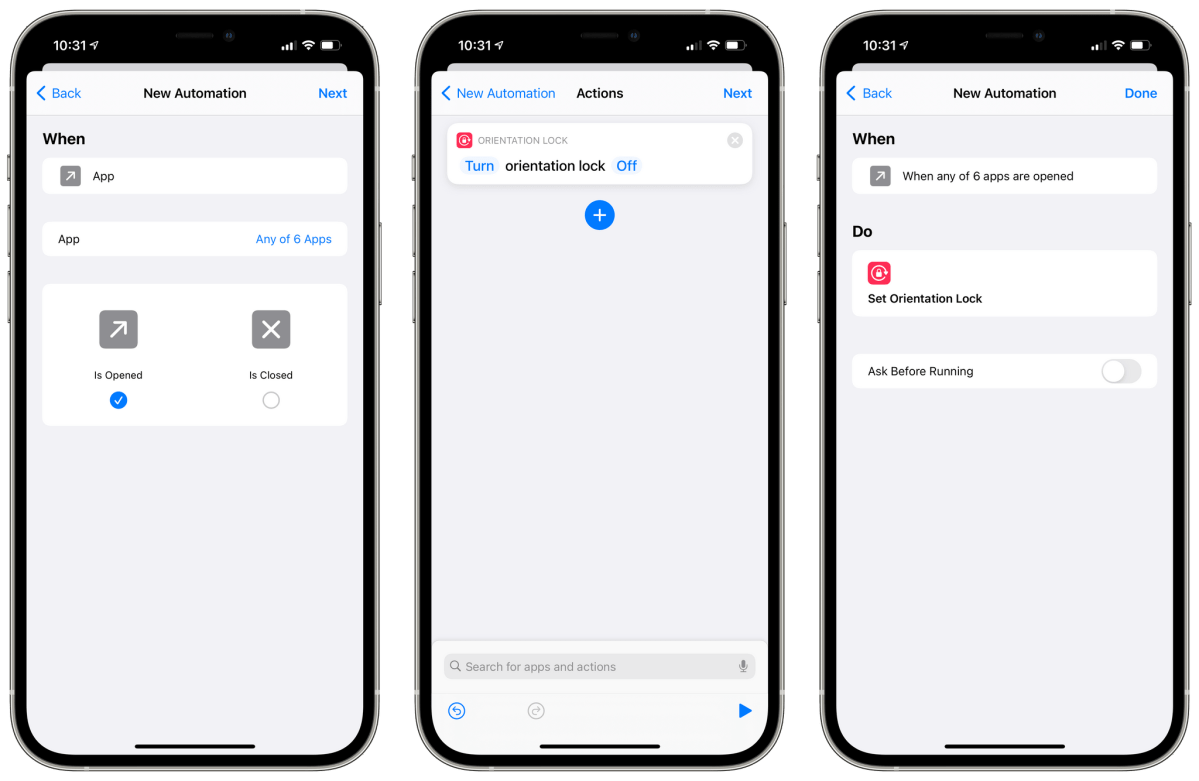 You can automate orientation lock based on which apps you open with Shortcuts in iOS 14.5.
