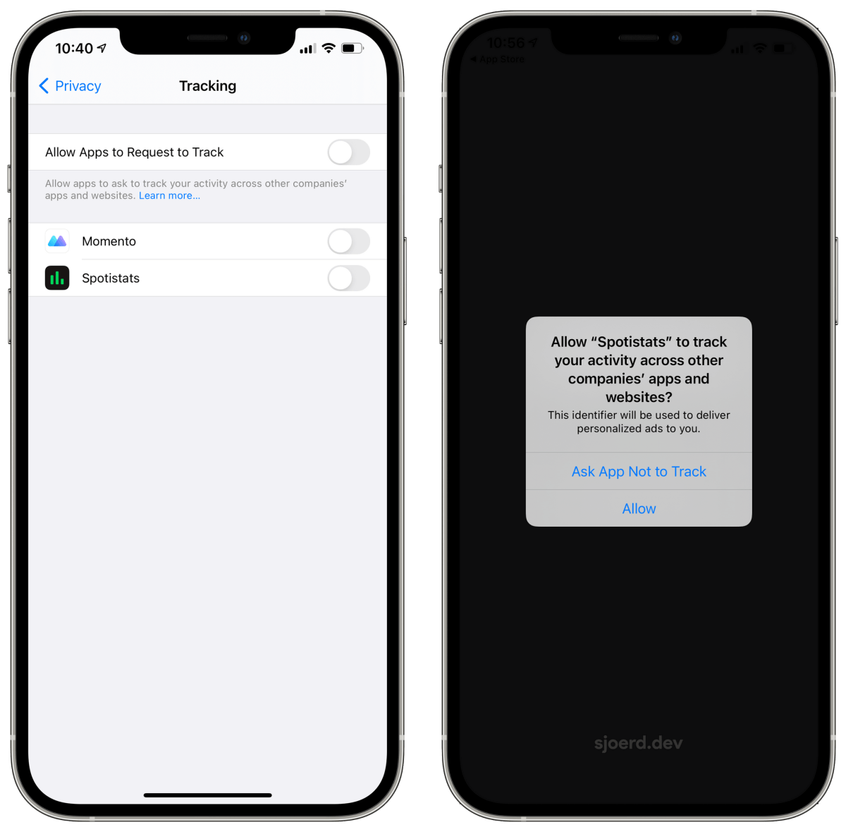 The new Tracking settings and prompt in iOS 14.5.