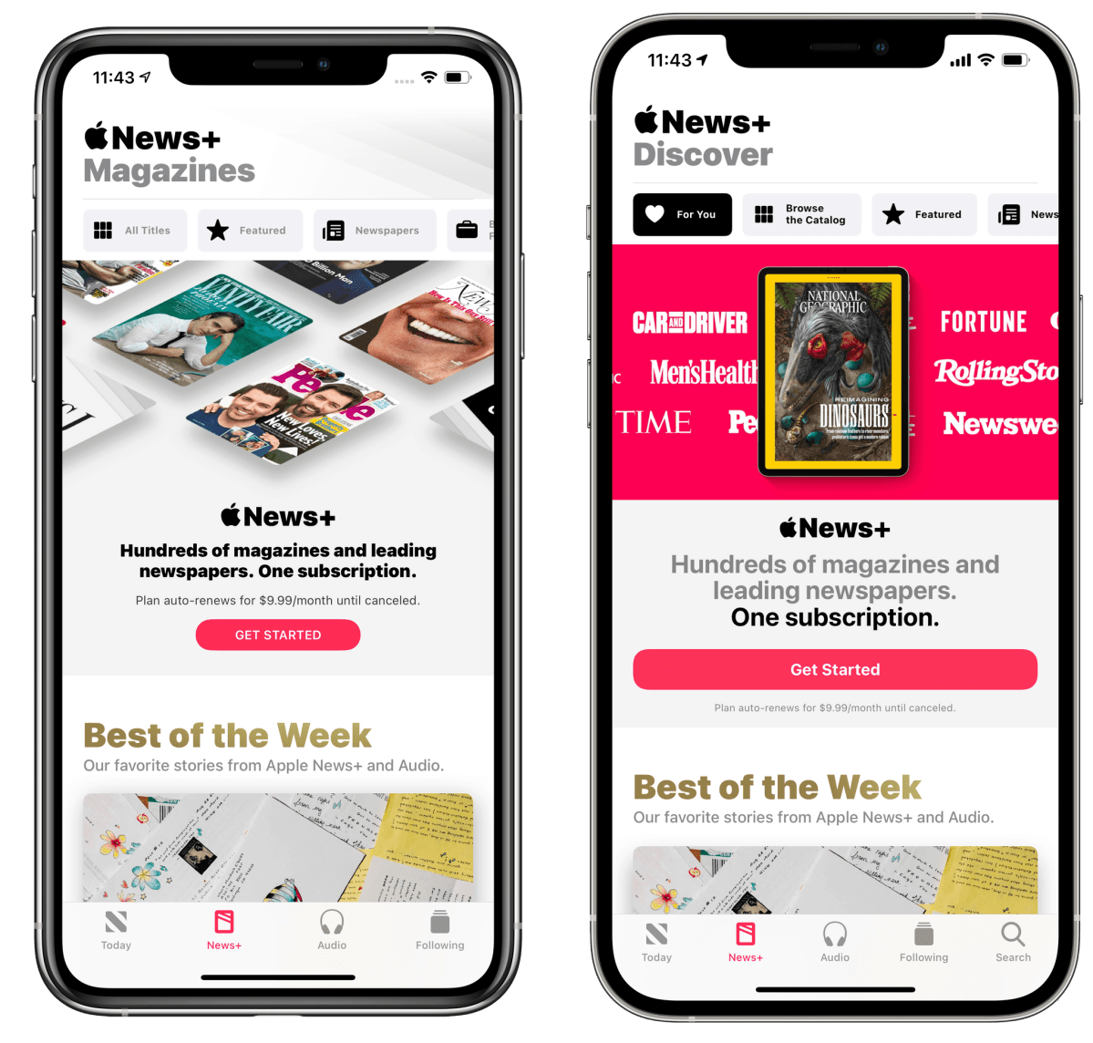 Apple News in iOS 14.5 (right) features a tweaked News+ page along with a dedicated Search tab.