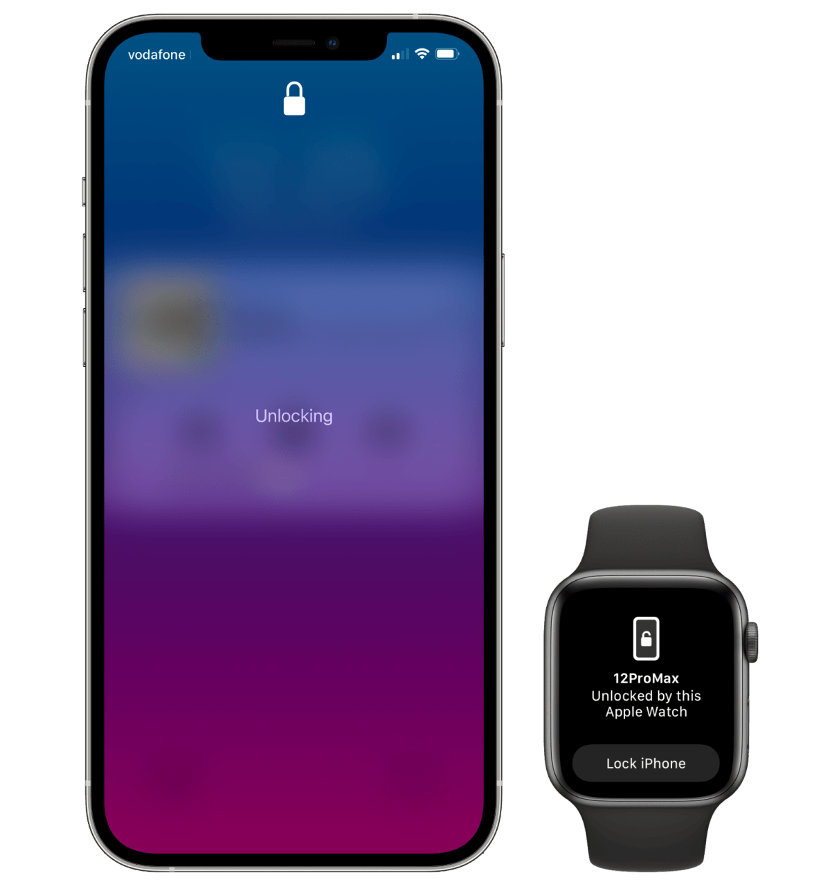 Unlocking Face ID via the Apple Watch. You only see the message on Apple Watch if you raise your wrist after a successful authentication.
