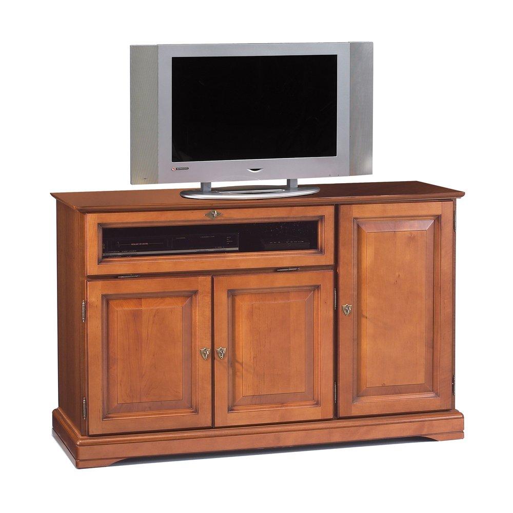 meuble tv hifi 3 portes en finition merisier florie