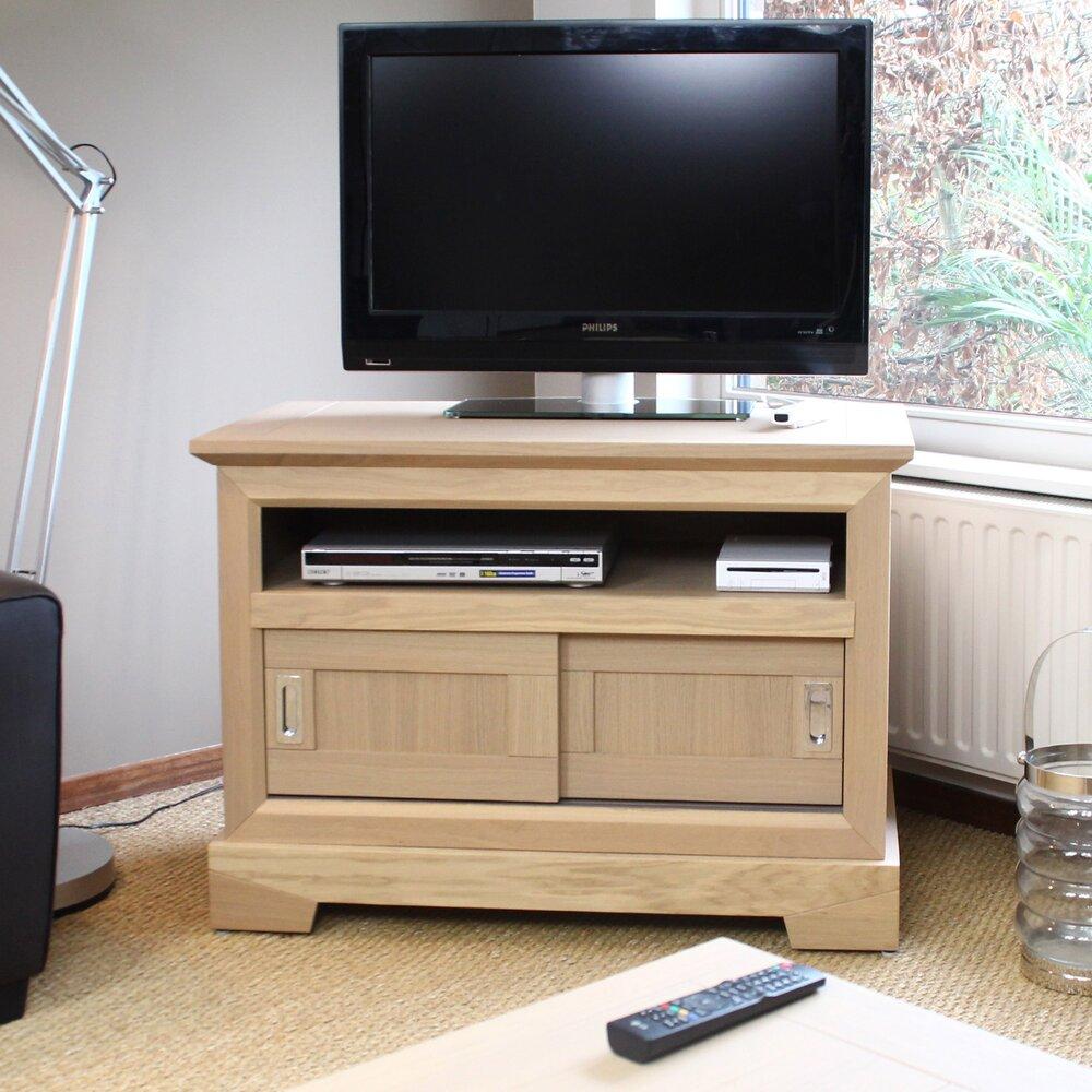 meuble tv haut en chene massif couleur amande