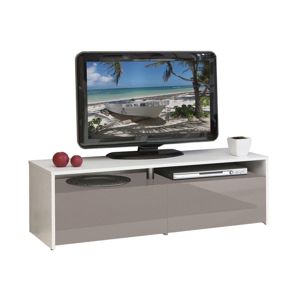 meuble tv blanc taupe 2 tiroirs taupe laque