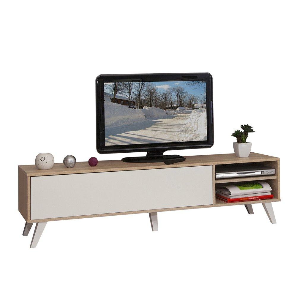 meuble tv pieds inclines 1 abattant chene et blanc storan