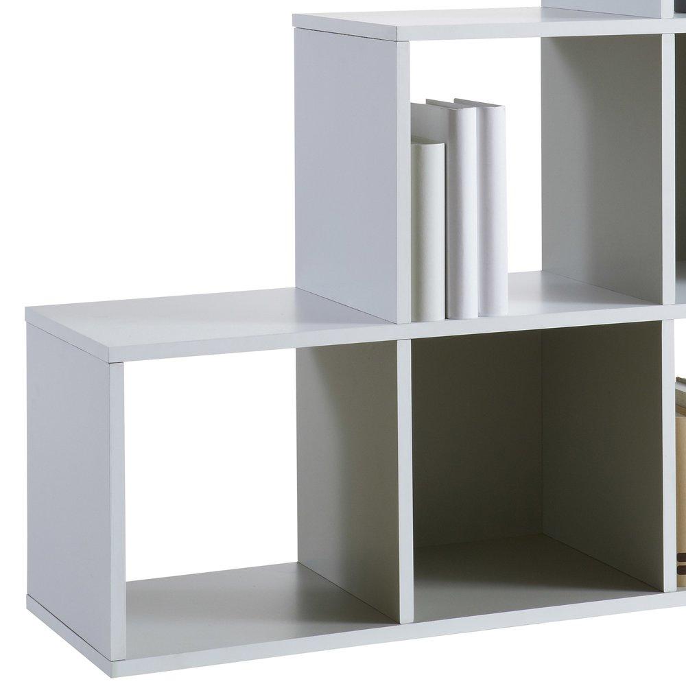 bibliotheque escalier 6 cases coloris blanc et gris fonce