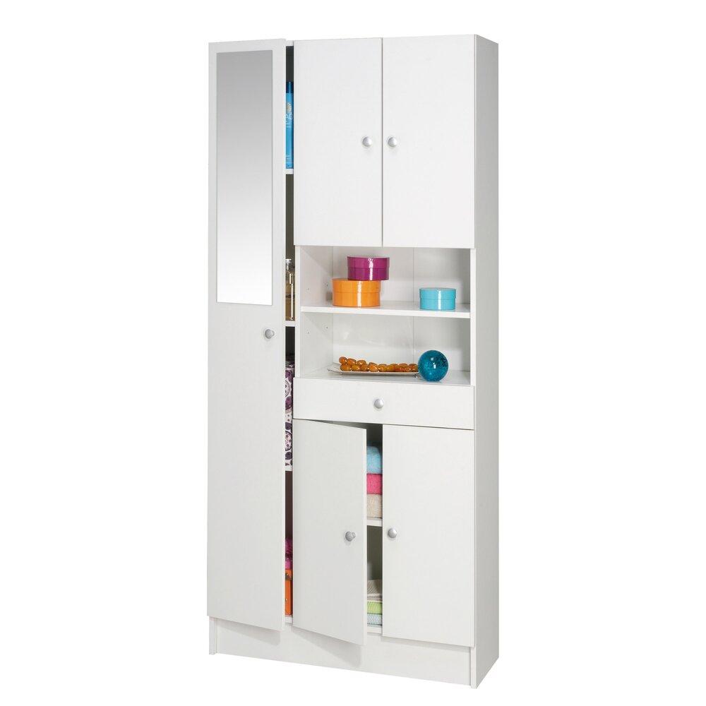 colonne multi rangement largeur 82cm coloris blanc