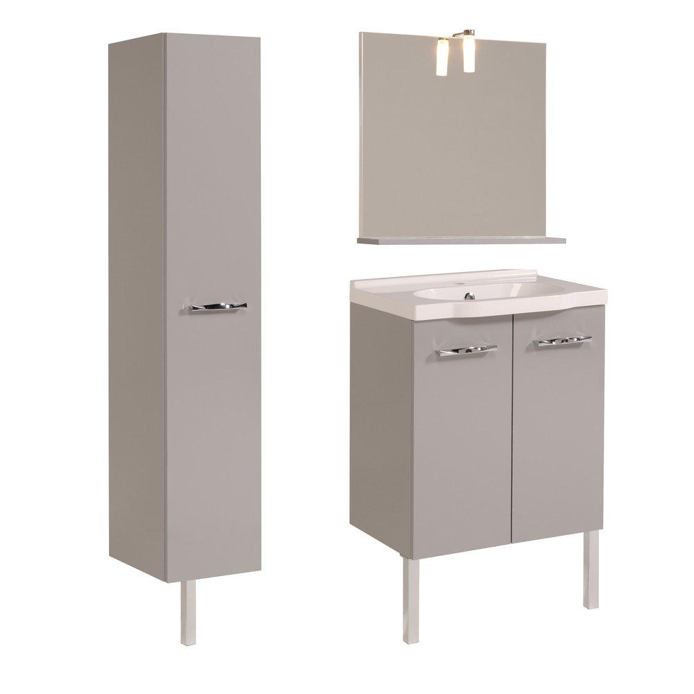 ensemble miroir vasque meuble sous vasque colonne coloris gris