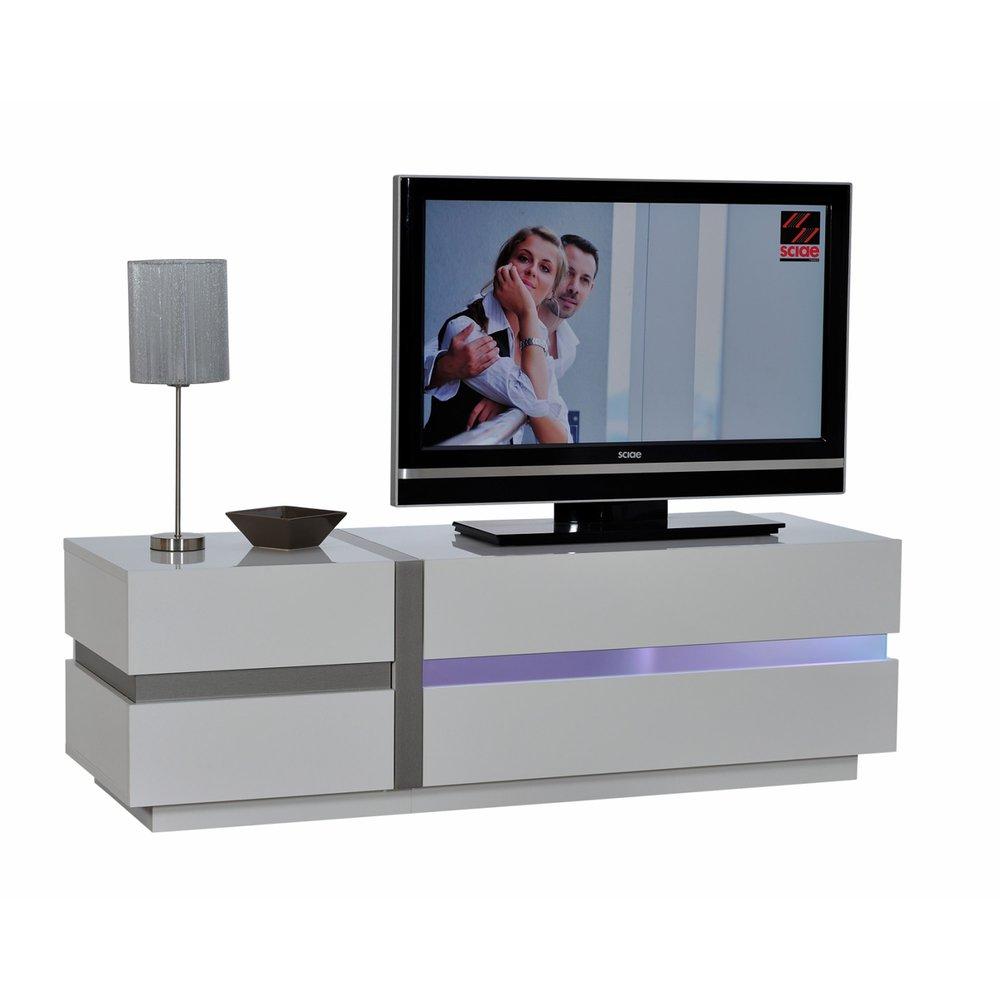 banc tv avec leds 150x84x50cm coloris blanc laque