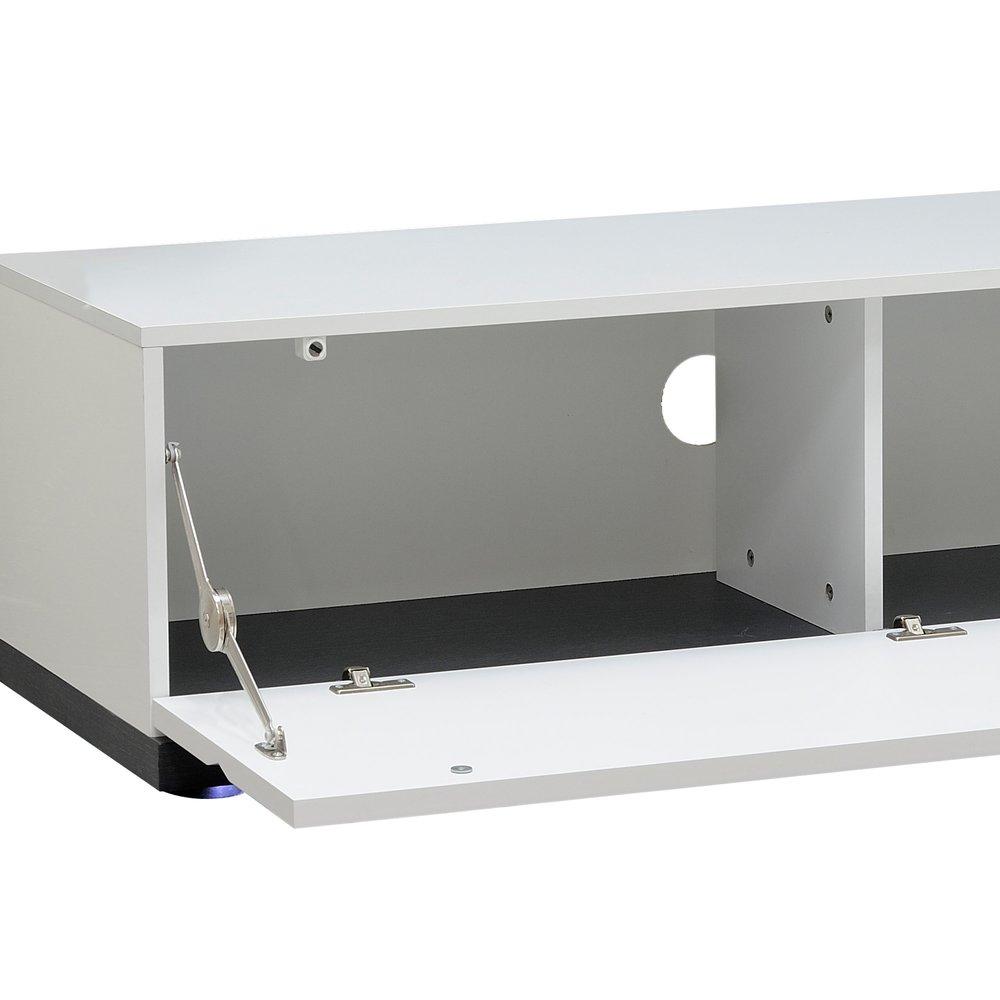 element bas a leds pour meuble tv 130cm coloris blanc laque et gris