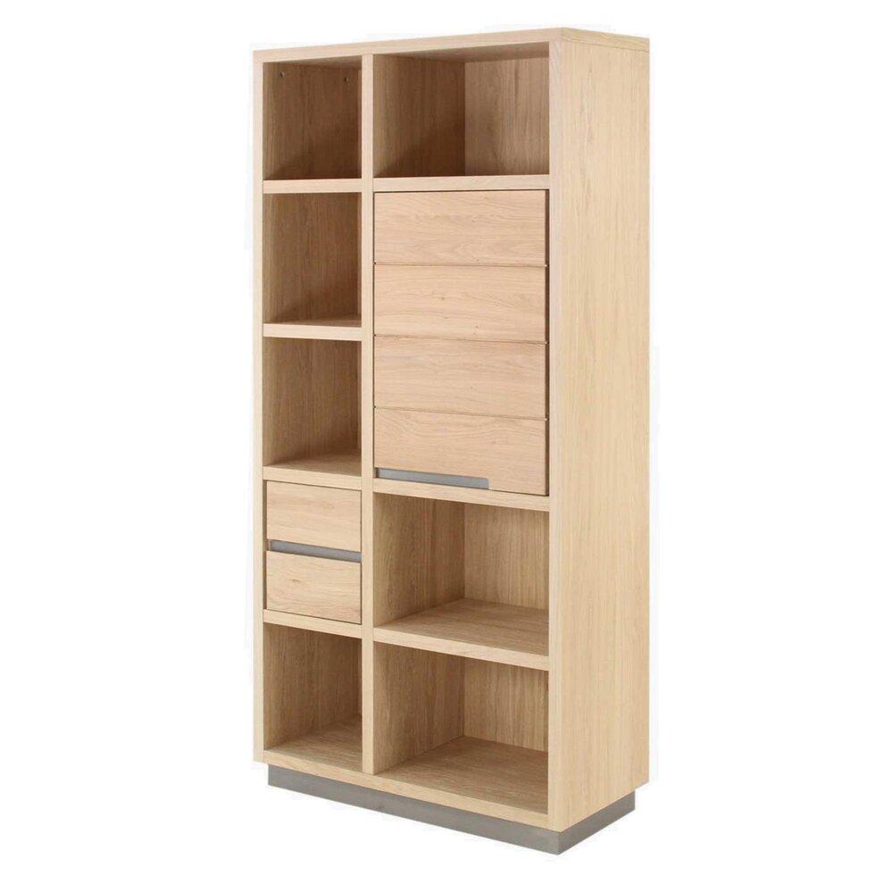 bibliotheque 1 porte 2 tiroirs chene massif landrom