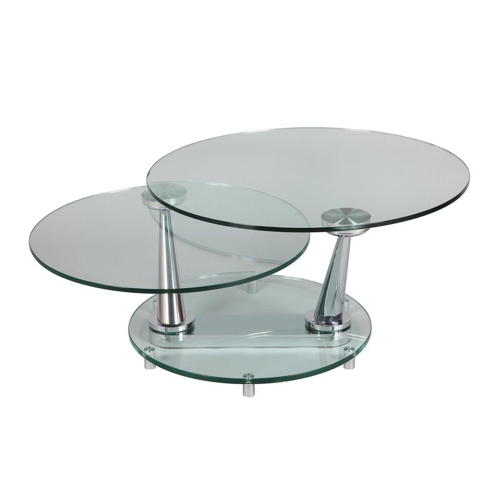 table basse ovale en verre trempe glass