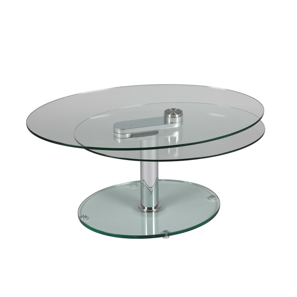 table basse 2 plateaux ovales en verre trempe glass