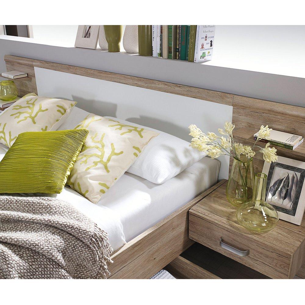 lit en 160x200 cm avec 2 chevets et tete de lit