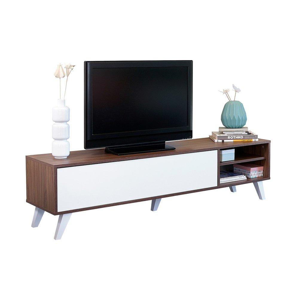 meuble tv pieds inclines 1 abattant noyer et blanc storan