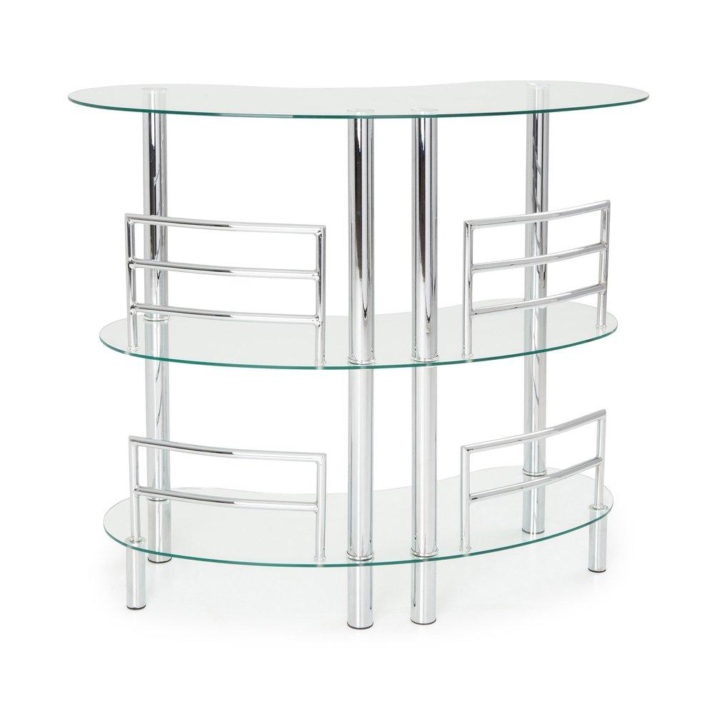 table bar double en verre trempe coloris transparent