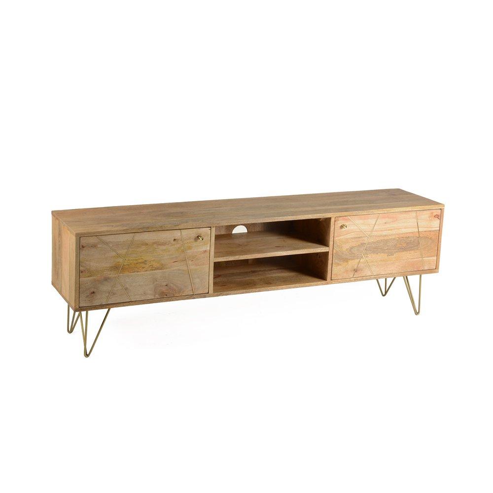 meuble tv 2 portes 2 niches en manguier metal