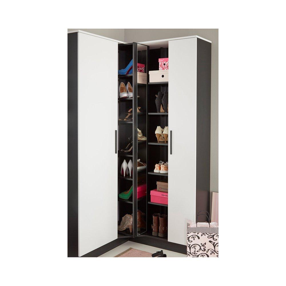 meuble a chaussures angle 2 portes avec miroir noir