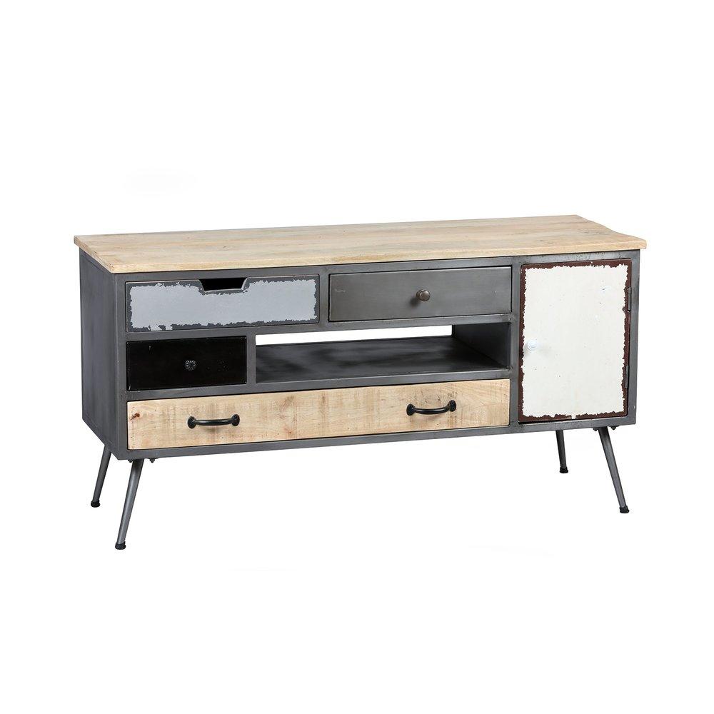 meuble tv 4 tiroirs 1 porte en acier et bois massif tudal