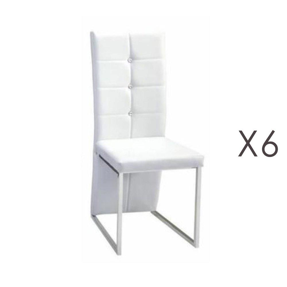 lot de 6 chaises capitonnees strass blanc pando