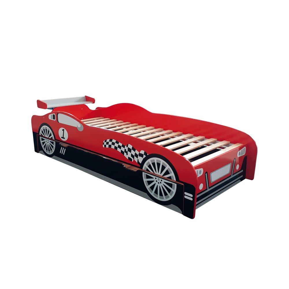 lit voiture de course 90x200 cm en bois rouge