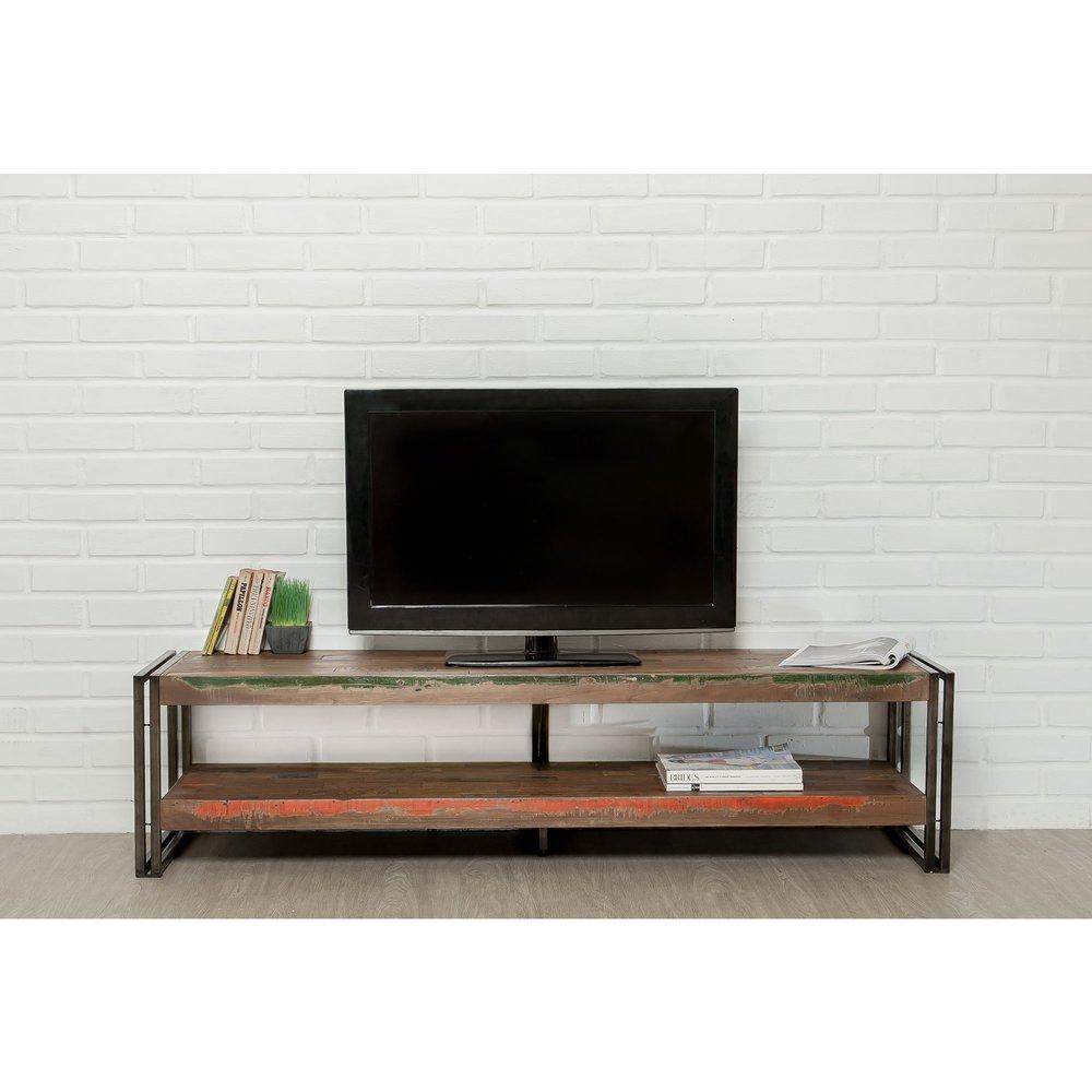 meuble tv 160 cm double plateaux en teck recycle tundra