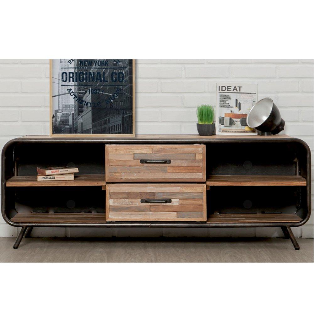 meuble tv 2 tiroirs et 4 niches en teck recycle jakarta