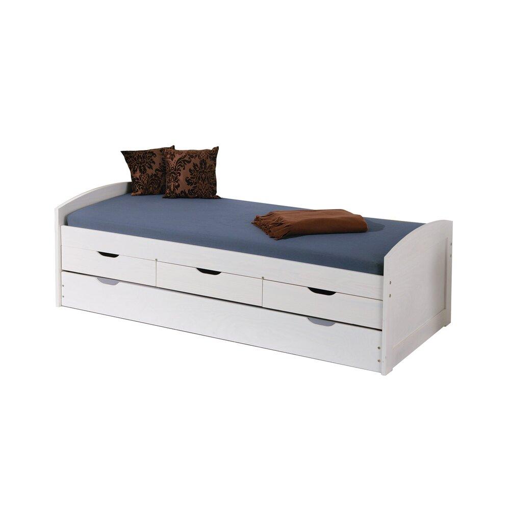 lit gigogne 90x190 cm avec 3 tiroirs en pin massif blanc chambery