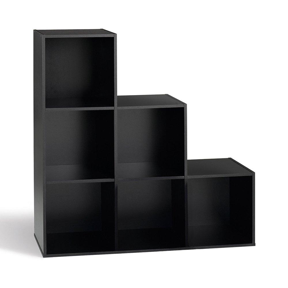 meuble de rangement escalier 6 niches noir karry