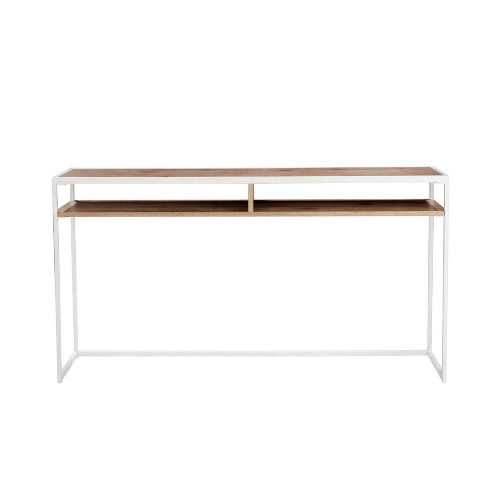 console 150 cm en bois naturel et metal blanc