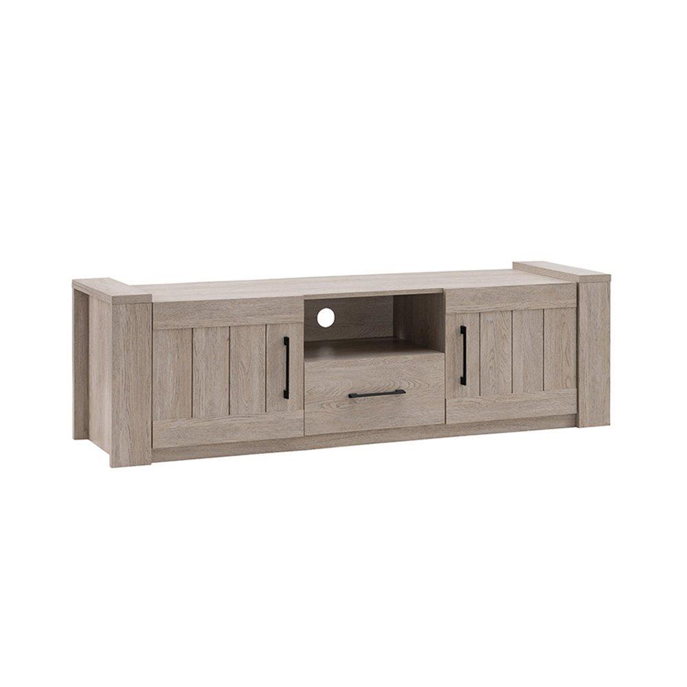 meuble tv 2 portes et 1 tiroir en chene grise ernesto