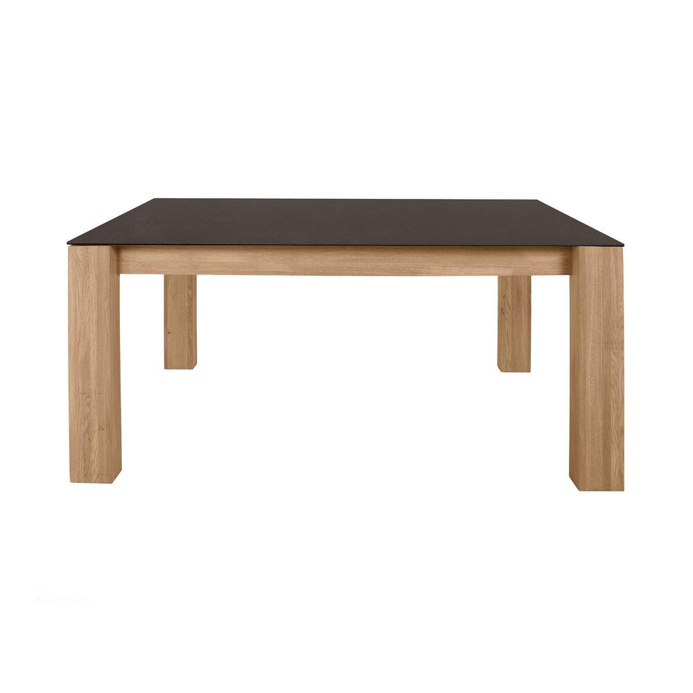 table a manger carree 100 cm avec plateau en ceramique gris fonce