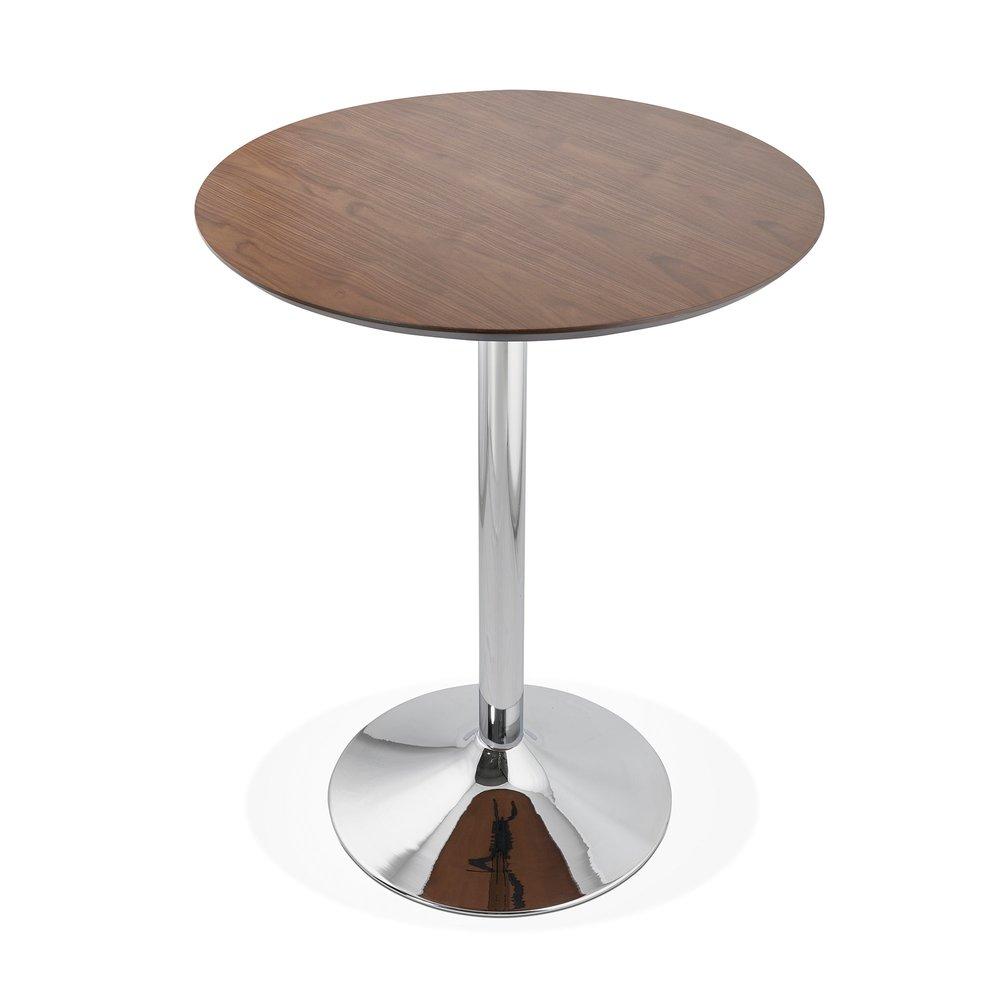 table de bar ronde 90 cm plateau bois fonce et pied metal barman