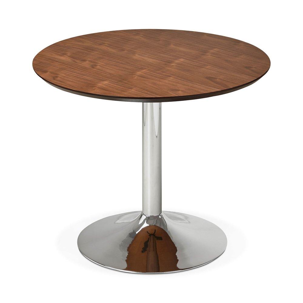 table a manger ronde 90 cm en bois fonce et metal franklin