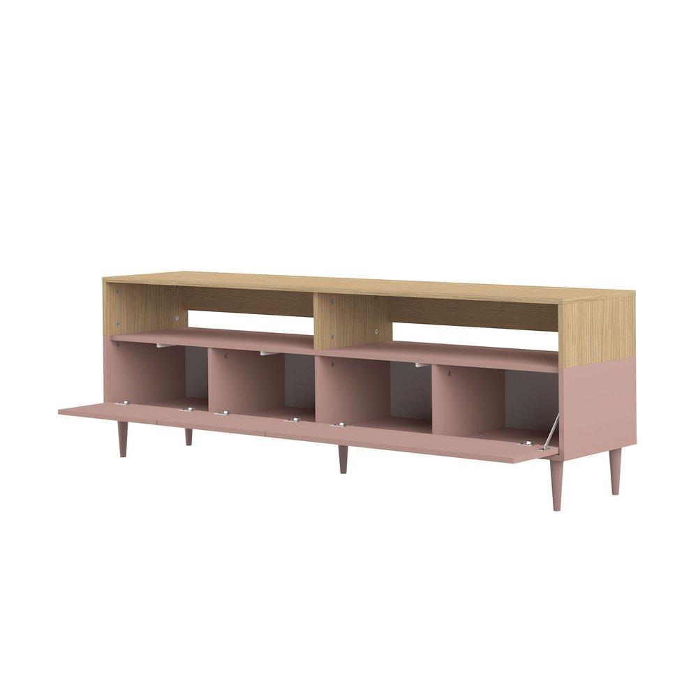 meuble tv 3 portes et 2 niches 180x40x60 cm naturel et rose meryl