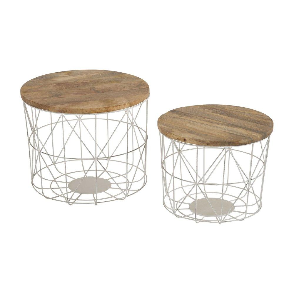lot de 2 tables basses rondes en bois et metal blanc punta