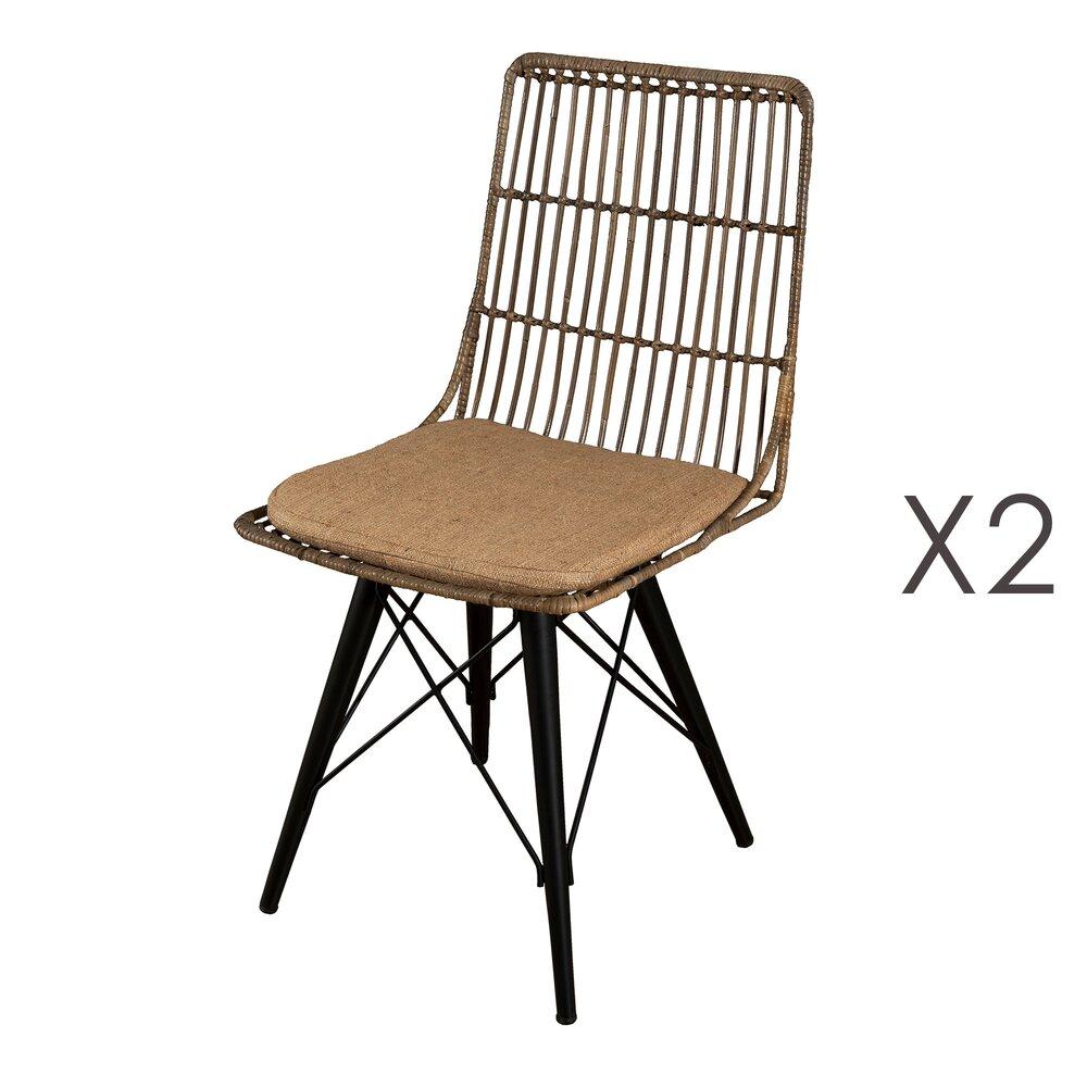 lot de 2 chaises avec coussin en rotin et metal noir manille