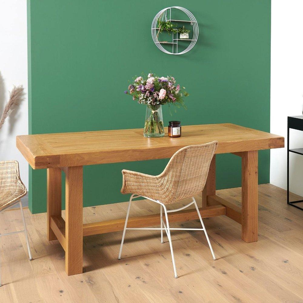 table de ferme pieds carres l 2200 mm chene clair